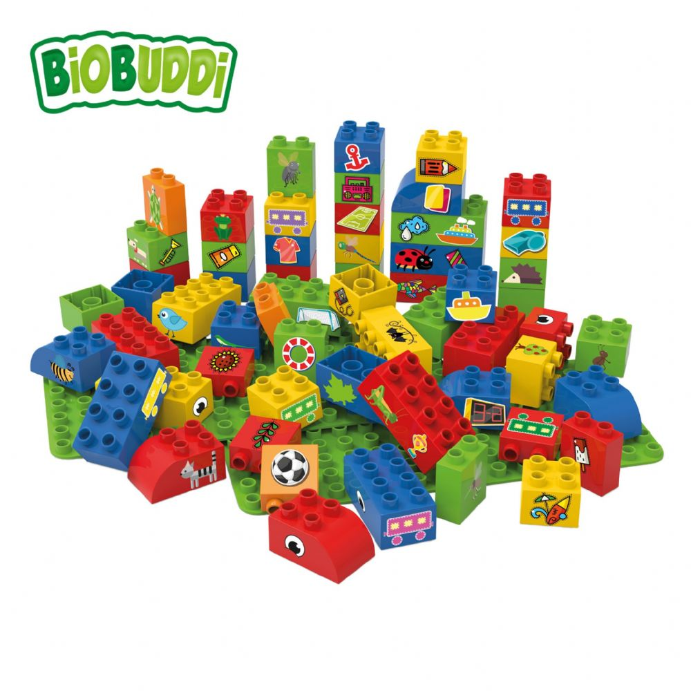 BiOBUDDi - 60 Blocks with 2 baseplates (Red)